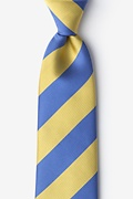 Blue Microfiber Blue & Gold Stripe Extra Long Tie