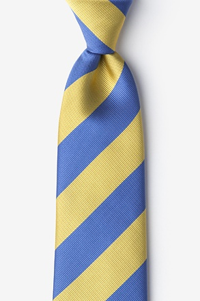 _Blue & Gold Stripe Extra Long Tie_