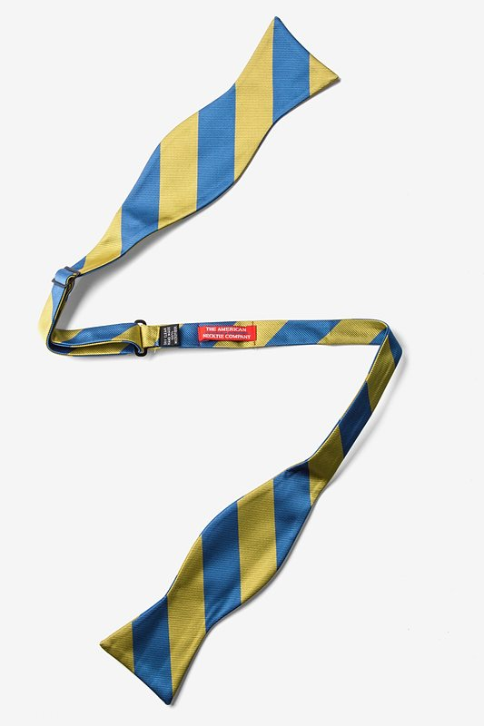 Blue & Gold Stripe Self-Tie Bow Tie