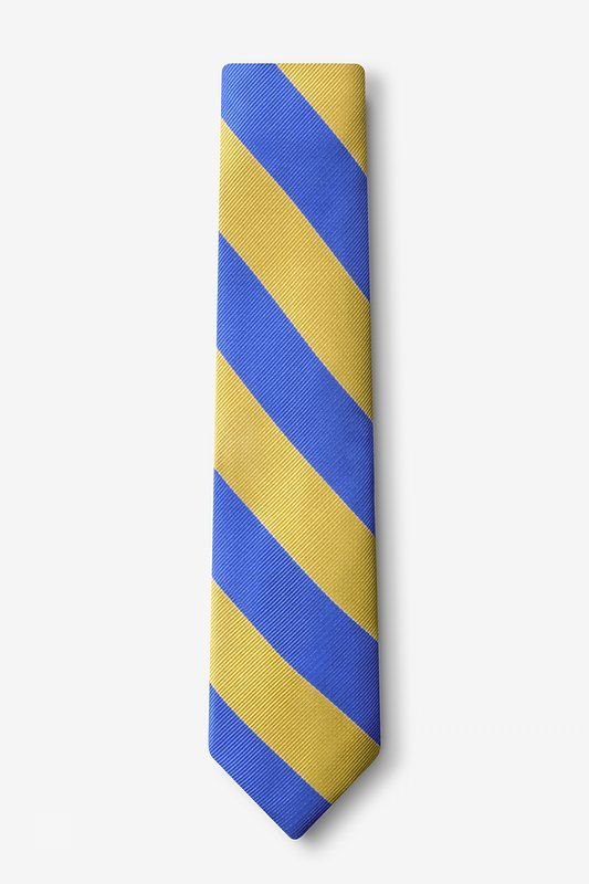 Blue & Gold Stripe Skinny Tie Photo (1)