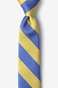 Blue Microfiber Blue & Gold Stripe Tie For Boys