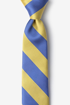_Blue & Gold Stripe Tie For Boys_