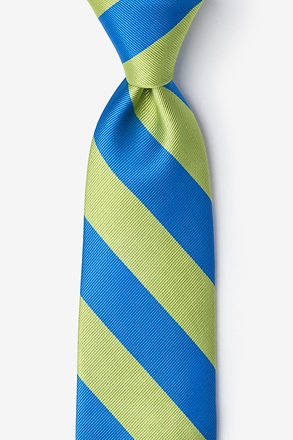 _Blue & Lime Stripe Extra Long Tie_