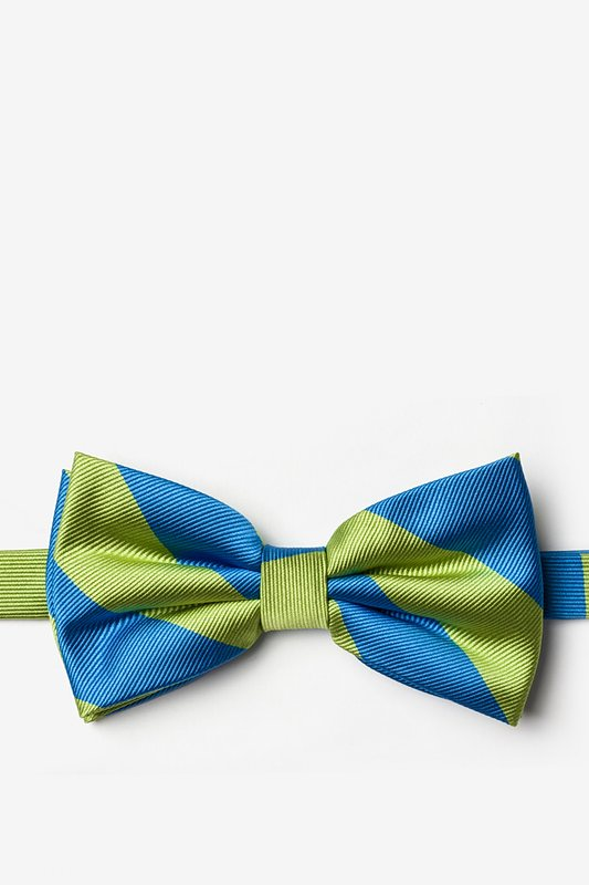 Blue & Lime Stripe Pre-Tied Bow Tie Photo (0)