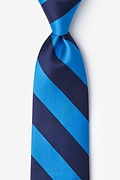 Blue Microfiber Blue & Navy Stripe Extra Long Tie