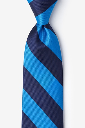 _Blue & Navy Stripe Extra Long Tie_