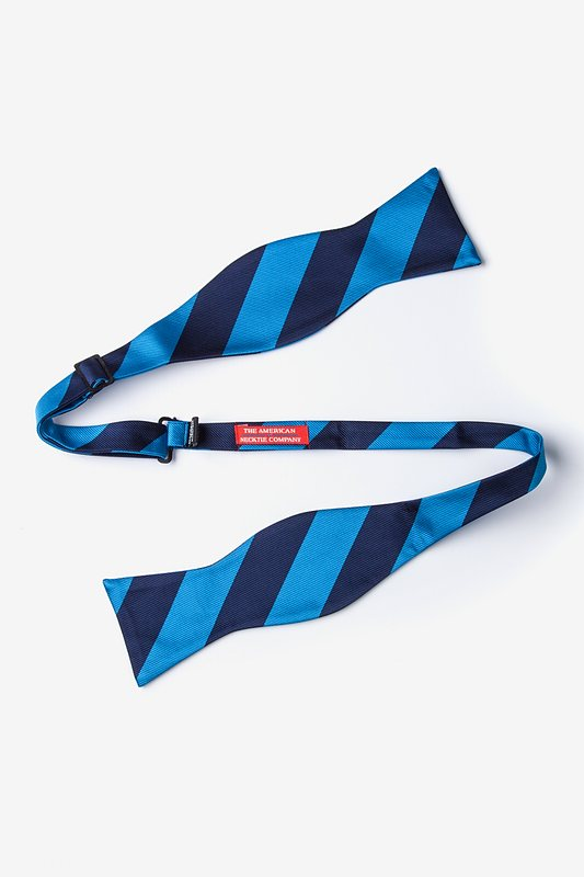 Blue & Navy Stripe Self-Tie Bow Tie