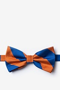 Blue Microfiber Blue & Orange Stripe Pre-Tied Bow Tie