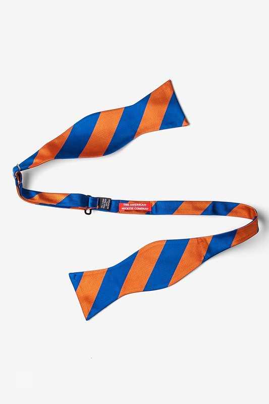 Blue & Orange Stripe Self-Tie Bow Tie