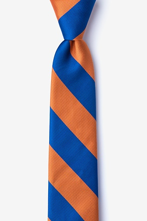 _Blue & Orange Stripe Skinny Tie_