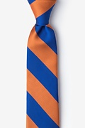 Blue Microfiber Blue & Orange Stripe Tie For Boys