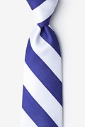 Blue Microfiber Blue & White Stripe Extra Long Tie