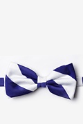 Blue & White Stripe Pre-Tied Bow Tie Photo (0)