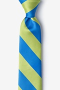 Blue Microfiber Blue & Lime Stripe Tie For Boys