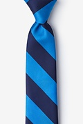 Blue Microfiber Blue & Navy Stripe Tie For Boys