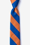 Blue Microfiber Blue & Orange Stripe Skinny Tie