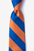 Blue Microfiber Blue & Orange Stripe Tie