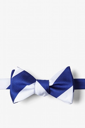 Blue & White Stripe Self-Tie Bow Tie