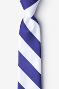 Blue Microfiber Blue & White Stripe Tie For Boys