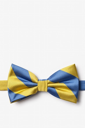 Blue And Gold Pre-Tied Bow Tie