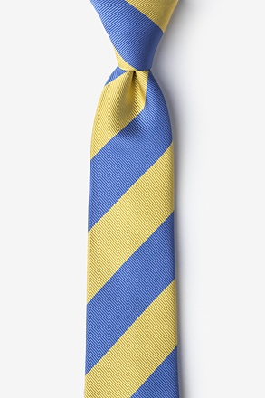 Blue And Gold Stripe Skinny Tie