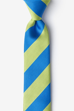 Blue And Lime Stripe Skinny Tie