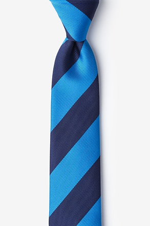Blue And Navy Stripe Skinny Tie