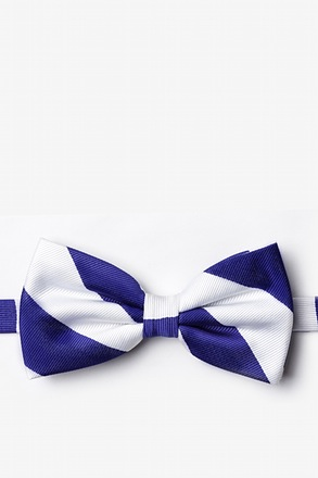 Blue And White Pre-Tied Bow Tie
