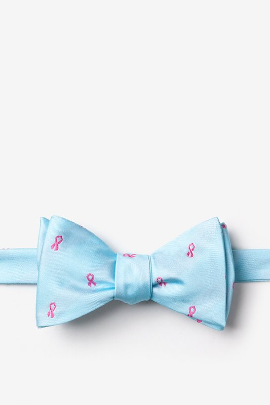 Breast Cancer Ribbon Blue Self-Tie Bow Tie Photo (0)
