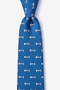 Blue Microfiber Fish Bones Extra Long Tie