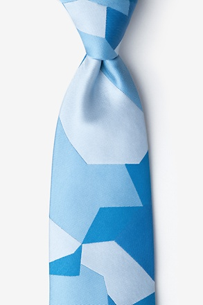 _Geometric Camo Blue Extra Long Tie_