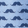 Blue Microfiber Mustache Repeat Self-Tie Bow Tie