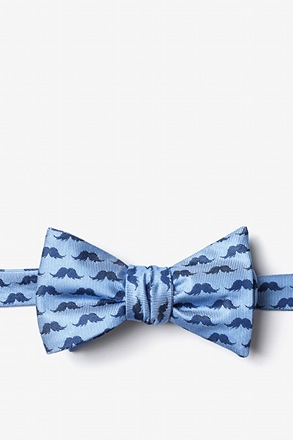 Mustache Repeat Blue Self-Tie Bow Tie