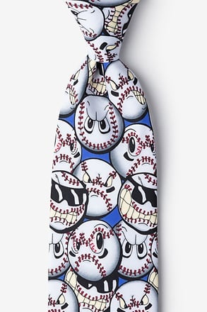 _Play Hard Baseball Blue Extra Long Tie_