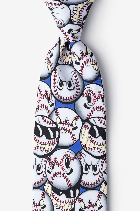 Play Hard Baseball Blue Extra Long Tie Photo (0)