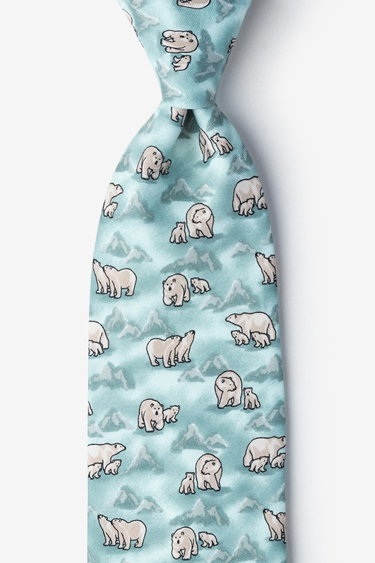 Polar Bears Blue Tie