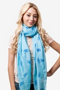 What a Hoot Blue Scarf by Scarves.com