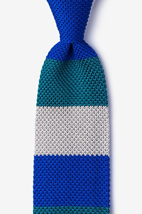 _Belgian Color Block Blue Knit Tie_