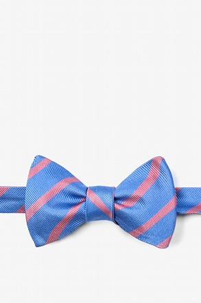 Blue Balboa Stripe Self-Tie Bow Tie