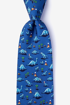 _Blue Classic Jurassic Extra Long Tie_