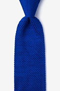 Classic Solid Blue Knit Tie Photo (0)