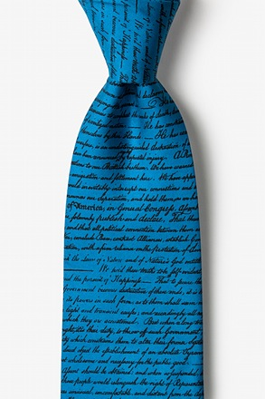 Declaration of Independence Blue Extra Long Tie