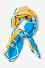 Blue Silk Feeling Knotty Square Scarf