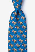 Blue Silk In Dog We Trust Extra Long Tie
