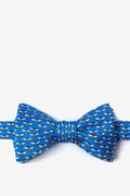 Blue Silk Micro Bees Self-Tie Bow Tie
