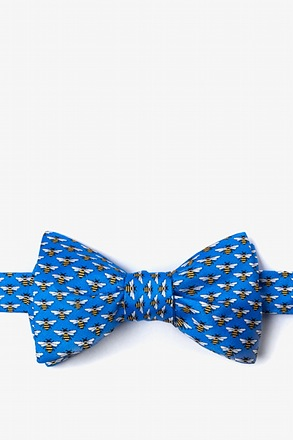 Micro Bees Blue Self-Tie Bow Tie