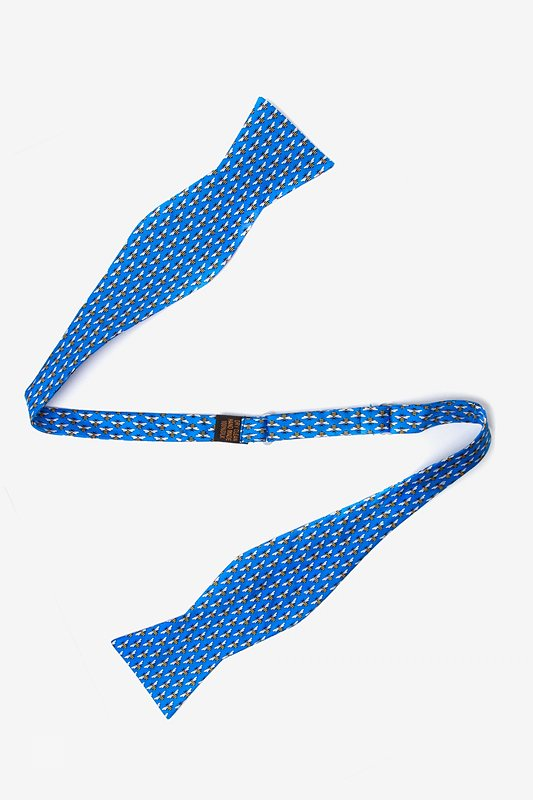 Micro Bees Blue Self-Tie Bow Tie Photo (1)