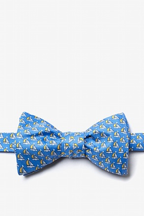 _Micro Sailboats Blue Self-Tie Bow Tie_