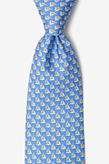 Blue Silk Micro Sailboats Tie