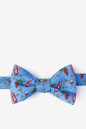 Pour Decisions Blue Self-Tie Bow Tie